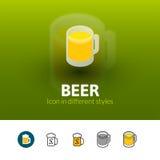 Icône de bière dans le style différent illustration de vecteur