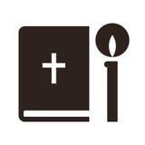 Icône de bible et de bougie illustration stock