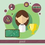 Icône de billards de jeune fille de joueur de jeu de piscine illustration stock