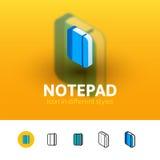 Icône de bloc-notes dans le style différent illustration libre de droits