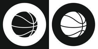 Icône de boule de basket-ball Boule de basket-ball de silhouette sur un fond noir et blanc le ski d'illustration de matériel de c photo libre de droits