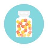 Icône de bouteille de pilules de médecine illustration stock