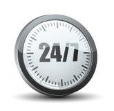 24/7 icône de bouton de prestation de service Image stock