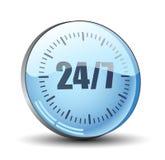 24/7 icône de bouton de prestation de service illustration libre de droits
