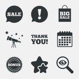 Icône de bulle de la parole de vente Merci symbole Photos stock