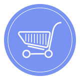 Icône de caddie, conception de panier à provisions, icône de chariot Fond bleu de cercle Photographie stock libre de droits