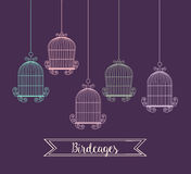 Icône de cages à oiseaux Objet de décoration concept de vintage, graphique de vecteur Image libre de droits