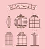 Icône de cages à oiseaux Objet de décoration concept de vintage, graphique de vecteur Images libres de droits