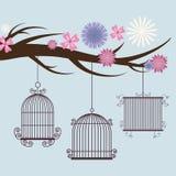 Icône de cages à oiseaux Objet de décoration concept de vintage, graphique de vecteur Images stock