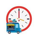 Icône de camion d'horloge murale et de fruits de mer illustration stock
