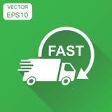 Icône de camion de livraison Bateau rapide de service de distribution de concept d'affaires Photographie stock