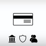 Icône de carte bancaire, illustration de vecteur Style plat de conception Images libres de droits