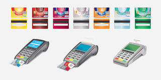 Icône de carte de crédit et terminal de position d'isolement sur le blanc Image libre de droits