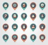 Icône de carte de goupille de Noël Les vacances objectent la collection