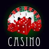 Icône de casino avec la roue d'as, de matrices et de roulette Photo stock
