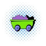 Icône de chariot, style de bandes dessinées Image stock