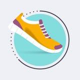 Icône de chaussures de course Chaussures pour former, espadrille d'isolement sur le bleu Photo stock