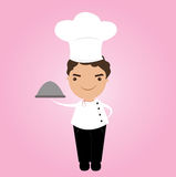 Icône de chef au-dessus d'illustration rose de fond Photos libres de droits