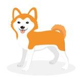 Icône de chien de race d'Akita Inu, plate, style de bande dessinée blanc d'isolement mignon de chiot de fond Illustration de vect illustration stock