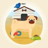 Icône de chien de roquet Illustration de bande dessinée dans le style plat Image stock