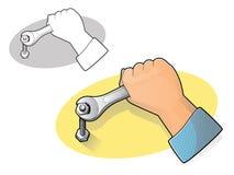 Icône de clé et de main Images libres de droits