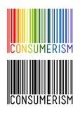 Icône de code barres avec la lettre de consommationisme à l'intérieur illustration stock