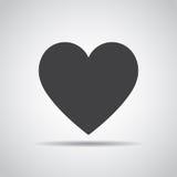 Icône de coeur avec l'ombre sur un fond gris Illustration de vecteur illustration stock