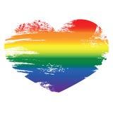 Icône de coeur sur le fond blanc Coeur d'arc-en-ciel avec Han Image libre de droits