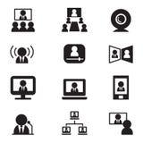 Icône de communication de vidéoconférence (réunion, séminaire, formation) illustration stock
