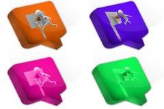 icône de concept de boule de panier de l'homme 3D Photographie stock