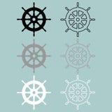 Icône de couleur de blanc gris de noir de roue de bateaux Image libre de droits