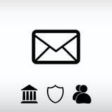 Icône de courrier d'enveloppe, illustration de vecteur Style plat de conception Photographie stock