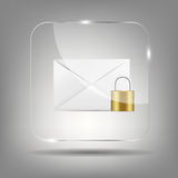 Icône de courrier dans l'illustration en verre de vecteur de bouton Photographie stock libre de droits