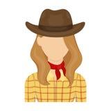 Icône de cow-girl dans le style de bande dessinée d'isolement sur le fond blanc Illustration de vecteur d'actions de symbole de r Image libre de droits