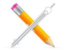 Icône de crayon et de boussole de dessin Photo stock