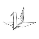 Icône de croquis d'oiseau de papier de grue d'origami Images stock