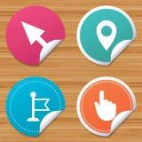 Icône de curseur de souris Symboles d'indicateur de main ou de drapeau Photos libres de droits
