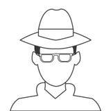 icône de détective ou d'espion Photographie stock libre de droits