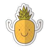 Icône de dessin de caractère de fruit frais d'ananas illustration stock