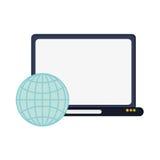 Icône de diagramme de globe d'ordinateur portable et de terre Image stock