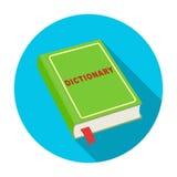 Icône de dictionnaire dans le style plat d'isolement sur le fond blanc Illustration de vecteur d'actions de symbole d'interprète  illustration de vecteur