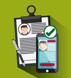Icône de document de cv d'homme d'affaires de stylo de Smartphone Photographie stock