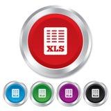 Icône de document de dossier d'Excel. Bouton de xls de téléchargement. Image stock