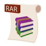 Icône de dossier de RAR, style de bande dessinée Images libres de droits