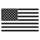 Icône de drapeau américain des Etats-Unis noire et blanche Photographie stock libre de droits