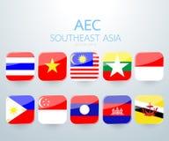 Icône de drapeau de l'AEC Asie du Sud-Est Photographie stock