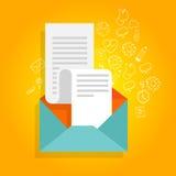 Icône de facture d'enveloppe de promotion de bulletin d'information Image stock