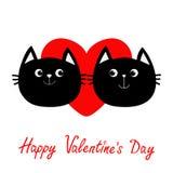 Icône de famille de deux de chat noir couples de tête Coeur rouge Personnage de dessin animé drôle mignon Carte de voeux heureuse illustration stock