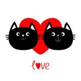 Icône de famille de deux de chat noir couples de tête Coeur rouge Personnage de dessin animé drôle mignon Carte de voeux de jour  illustration libre de droits