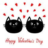 Icône de famille de deux de chat noir couples de tête Ensemble rouge de coeur Personnage de dessin animé drôle mignon Carte de vo illustration libre de droits
